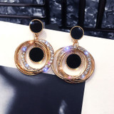 Ladies Fashion 2 Piece Crystal Round Circle Gold Gem Stone Earrings