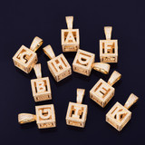 18k Gold .925 Silver Stereoscopic Square Flooded Ice Initial Letter AAA Micro Pave Pendant Chain Necklace