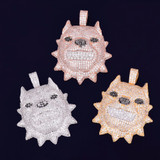 Growling Spiked Collar Pitbull Dog Head AAA Micro Pave 14k Gold Rose Gold Silver Hip Hop Pendant Chain