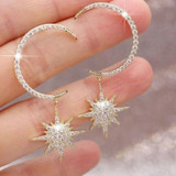 Ladies Fashion Earrings Exquisite Gold Silver Crystal Moon Stars Personality Girl Earring Set