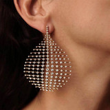 Ladies 1 Piece Exaggerated Teardrop Personality Girl Crystal Geometric Gold Earrings