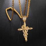 Serpent Snake Cross AAA Micro Paved 14k Gold Pendant Chain Necklace
