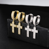 Bling True AAA Micro Pave Stone Cross Crucifix Hip Hop Earrings