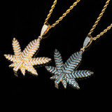 Tree Leaf Small Weed Herb Maple Leaf Hip Hop Pendant Chain Necklace