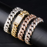 Miami Big Box Clasp 14mm Cuban Link AAA Prong Set Baguette Stone Hip Hop Bracelet