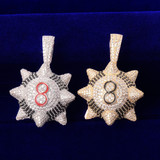 Flooded Ice AAA Tru Micro Pave Spike 8 Ball Inspired Spike 8-ball Pendant Chain Necklace