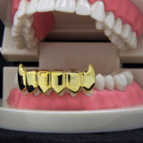 Hip Hop Lower Bottom Custom Fit Yellow Gold Teeth Fang Grillz