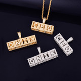 Hip Hop 18k Gold 925 Sterling Silver Baby Block Custom Name Pendant Chain Necklace