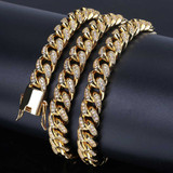 10mm Miami Cuban Link Micro Pave Stone 14k Gold 925 Silver Hip Hop Chain
