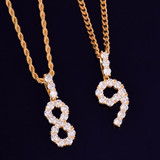 Flooded Ice Bling Tennis Numbers Cluster Stone Hip Hop Chain Pendants