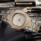 Famous Flooded Ice Diamond Simulate Stainless Steel Timepiece 18k Gold Silver Rose Gold Bling Watch