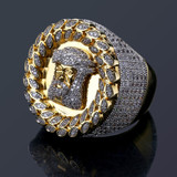 Jesus Face AAA True Micro Pave 14k Gold Hip Hop Mens Ring