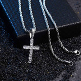 AAA Micro .925 Solid Sterling Silver Ultra Ice Cross Pendant Chain Necklace