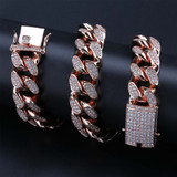 Custom Men's 20mm Heavy Link Flooded Ice Rose Gold Miami Cuban Link Chain Necklace