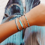 Ladies 4 Piece Simple Stylish Square Beads Multilayer Braided Rope Bracelet Set
