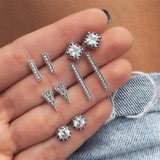 Ladies Boho Retro Triangle Round Geo Crystal Silver Bling Earrings Set