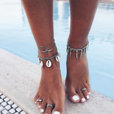 Classic Leaf Sea Shell Om Leather Chain Tassel Silver Multi Layer Anklet Ankle Bracelet