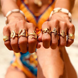 Ladies 9 Piece Retro Fashion Gold Octopus Pineapple Eye Gold Jewelry Ring Set