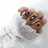 Women Fashion 6 Piece Vintage Style Gold Cross Virgin Mary Joint Ring Set