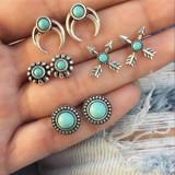 Turquoise Vintage 8 Piece Silver Arrow Moon Flower Gem Round Earring Jewelry Set
