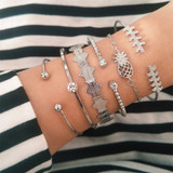 Personality Girl Pineapple Vintage Look Fashion Silver Bracelet Jewelry Set