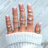 Ladies 19 Pcs Gold Silver Ocean Wave Arrow Moon Ring Jewelry Set