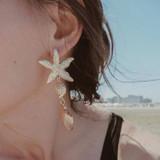 Ladies Sea Shell Starfish Conch Gold Boho Stud Earrings