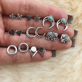 Ladies Bohemian Fashion Stars Heart Triangle Carved Silver Earrings Jewely Set