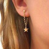 Womens Gold Boho Fashion Star Chain Gold Earrings