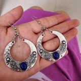 Ladies Silver Vintage Bohemian Retro Fashion Carved Opal Water Drop Earrings