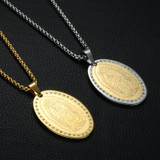 Micro Pave Virgin Mary 14k Gold Over Stainless Steel Our Lady of Guadalupe Pendants Necklace