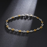 Gold Silver Over Stainless Steel 4.5mm Wide Coffee Chain Bracelet