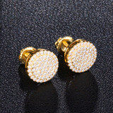 Snow Capped Extreme Iced Micro Pave Round Cut 14k Gold Bling Stud Earrings
