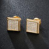 Hip Hop Full AAA Micro Paved Squared Corner Bling Earrings