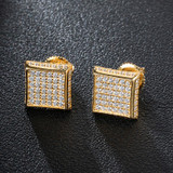 14k Gold 925 Silver Hip Hop Full AAA Micro Paved Squared Corner Bling Earrings