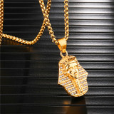Ancient African Iced Pharaoh King 14k Gold Stainless Steel Pendant Chain