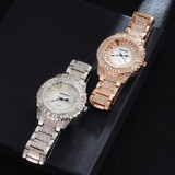 Bling Bling Simulated Diamond Quartz Stainless Steel Baguette Iced Wristwatch