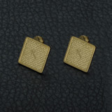 Spanish Prayer Christ Square Cross Bible Verse Stud Gold Stainless Steel Earrings