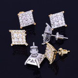 12MM Gold Silver Square Baguette AAA True Micro Pave Stud Screw Back Earrings