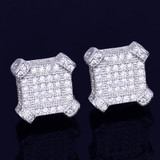 10MM Catercorner Square 14k Gold Silver Bling AAA Micro Pave Iced Earrings