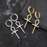True Micro Pave Huggie 18k Gold Silver Dangling Ankh Cross Hip Hop Iced AAA Earrings