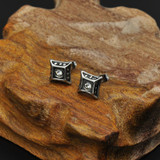 Vintage Style 316 Stainless Steel Square Cut Bling Earrings