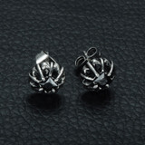 Simulated Diamond 316L Stainless Steel Black Stone Round Cut Earrings