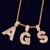 18k Gold Silver Rose Gold Baguette Initials Lab Diamond Simulate Letters Pendant Chain Necklace