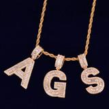18k Gold Silver Rose Gold Baguette Initials Pave Stone Diamond Simulate Letters Pendants