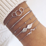 Angel Wings Boho Retro Circle Chain Heartbeat Silver Beaded Charm Bracelets Set