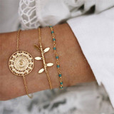 Ladies 3 Piece Fashion Leaf Bohemian All is One Bead Bracelets