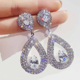 Ladies Shiny Silver Gold Crystal Tear Drop Fashion Earrings