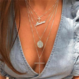 Ladies Classic Amen Divine Protection Multi Layer Cross Chain Necklace