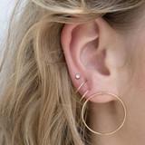 Women's Fashion Simple Classic Medium Hoop 6 Piece Gold Round Earrings Set